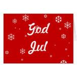 God Jul Snowflakes Greeting Cards