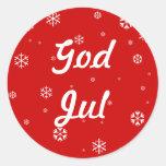 God Jul Snowflakes Round Stickers