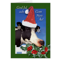 God Jul, Swedish Christmas, Cow with Santa Hat Card