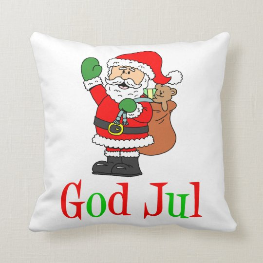 God Jul Swedish Christmas Santa Throw Pillow