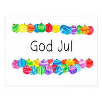 God Jul Swedish Christmas , watercolor Postcard