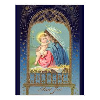 """God Jul"" Swedish Vintage Postcard"