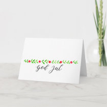 God Jul, watercolor Christmas banner Holiday Card