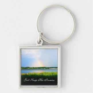 God Keeps His Promises - Rainbow Silver-Colored Square Keychain