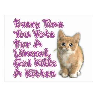 God Kills A Kitten Postcard