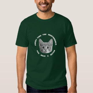 God Kills a Kitten (white text) T-shirts