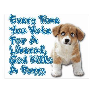 God Kills A Puppy Postcard