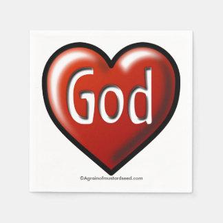 God love heart standard cocktail napkin