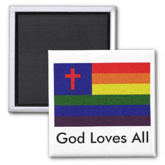 God Loves All 2 Inch Square Magnet
