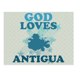 God Loves Antigua Postcard