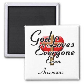 God Loves Arizonans 2 Inch Square Magnet