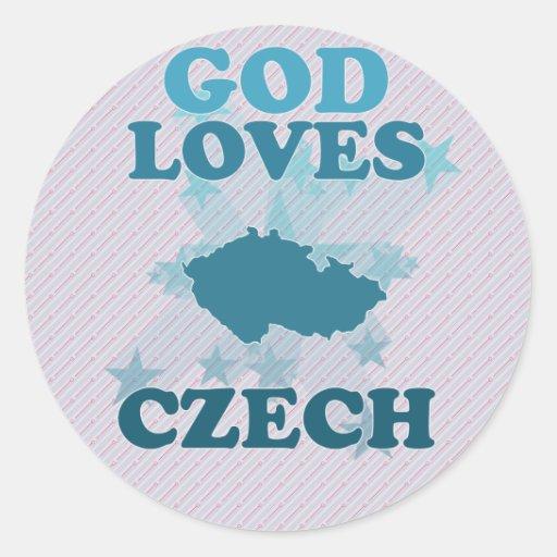 God Loves Czech Round Sticker