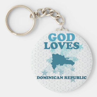 God Loves Dominican Republic Keychain