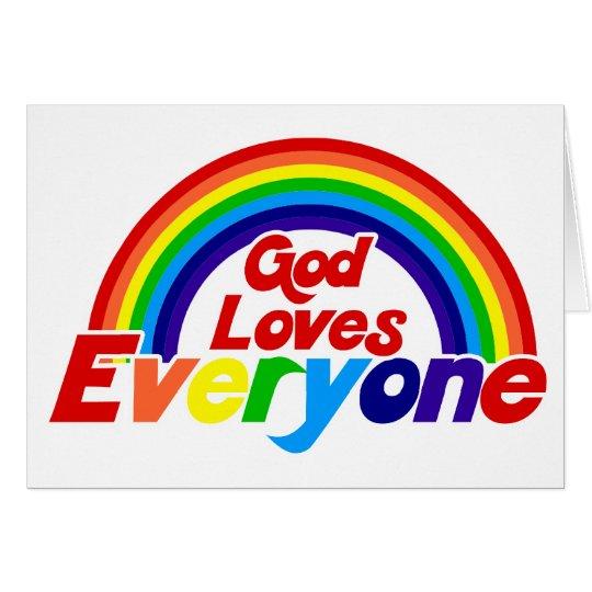 God Loves Everyone Gay Rainbow Card