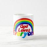 God Loves Everyone Gay Rainbow Coffee Mugs