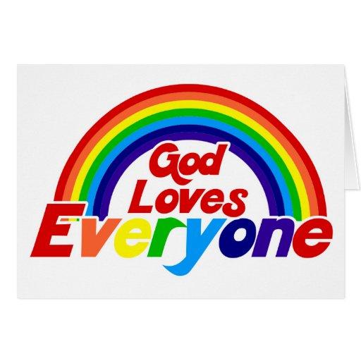 God Loves Everyone Gay Rainbow Greeting Card