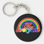 God Loves Everyone Gay Rainbow Basic Round Button Keychain