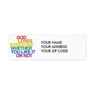 GOD LOVES EVERYONE - RETURN ADDRESS LABEL