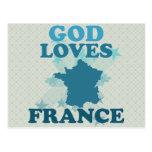 God Loves France Postcard