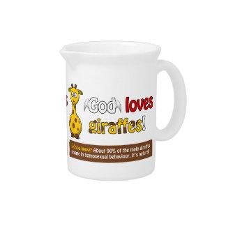 God loves Giraffes Drink Pitchers