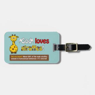God loves Giraffes Tags For Bags