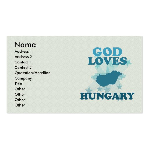 God Loves Hungary Business Card Template
