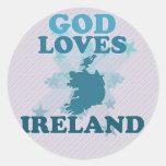 God Loves Ireland Round Stickers