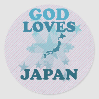 God Loves Japan Classic Round Sticker