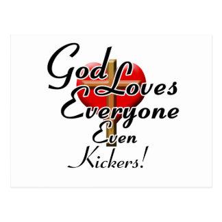 God Loves Kickers! Postcard