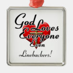 God Loves Linebackers! Square Metal Christmas Ornament