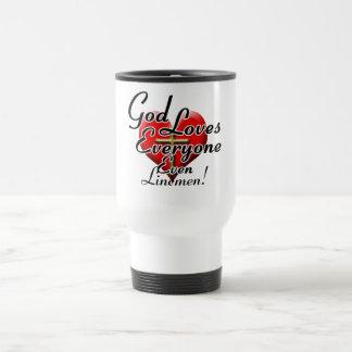 God Loves Linemen! 15 Oz Stainless Steel Travel Mug