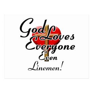 God Loves Linemen! Postcard