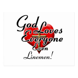 God Loves Linemen! Postcard