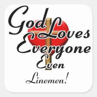 God Loves Linemen! Square Stickers