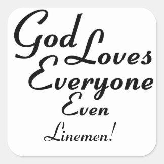 God Loves Linemen! Sticker