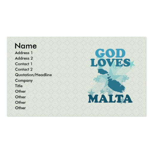 God Loves Malta Double-Sided Standard Business Cards (Pack Of 100)