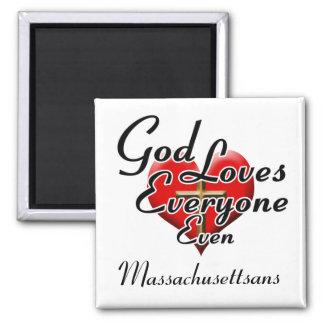 God Loves Massachusettsans 2 Inch Square Magnet