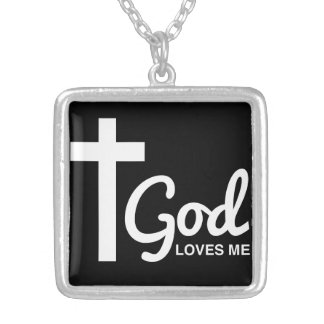 God Loves Me and My Tattoos Square Pendant Necklace