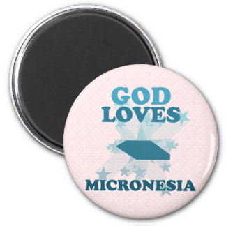 God Loves Micronesia 2 Inch Round Magnet
