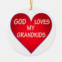 GOD LOVES MY GRANDKIDS CERAMIC ORNAMENT