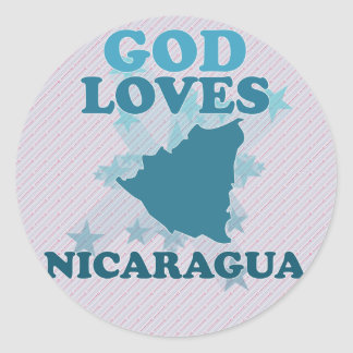 God Loves Nicaragua Classic Round Sticker