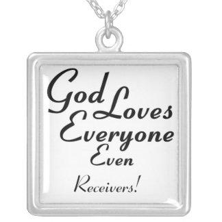 God Loves Receivers! Square Pendant Necklace