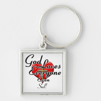 God Loves Sal! Silver-Colored Square Keychain