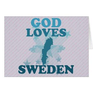 God Loves Sweden Greeting Card