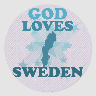 God Loves Sweden Round Stickers