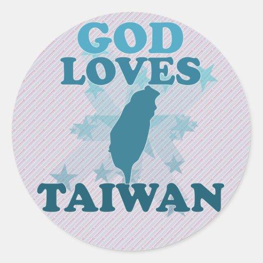 God Loves Taiwan Round Sticker