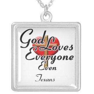 God Loves Texans Square Pendant Necklace