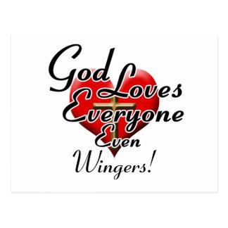 God Loves Wingers! Postcard