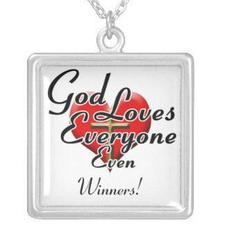 God Loves Winners! Square Pendant Necklace