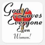 God Loves Women! Square Sticker